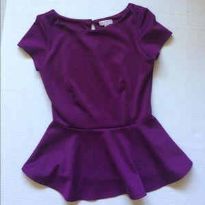 BISOU BISOU Michele bohbot purple peplum! Size XS