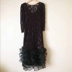 Vintage 80's glam dress sequin tulle low back XL