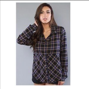 Free People Going Back to Harvard Plaid Shirt