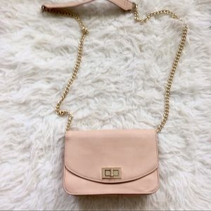 Forever 21 beige pink chainlink purse clutch