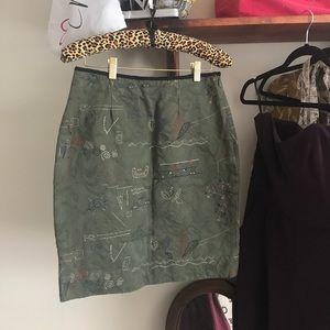 Anthropologie- Embroidered Skirt