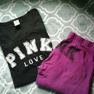 PINK Boyfriend Sweatpants w/Tee