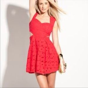 Ruby Red Cut Out Embroidery Flare Mini Dress
