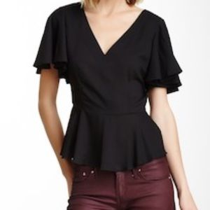 BB DAKOTA Allen Ruffle Hem Black Blouse