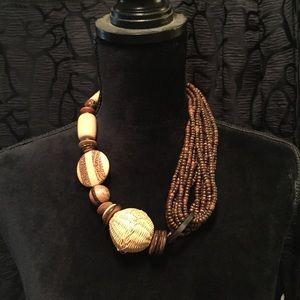 Vintage wood statement necklace