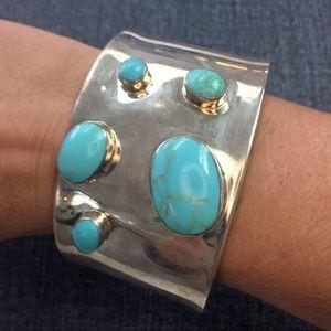 Vintage 925 Silver Turquoise Cuff Bracelet