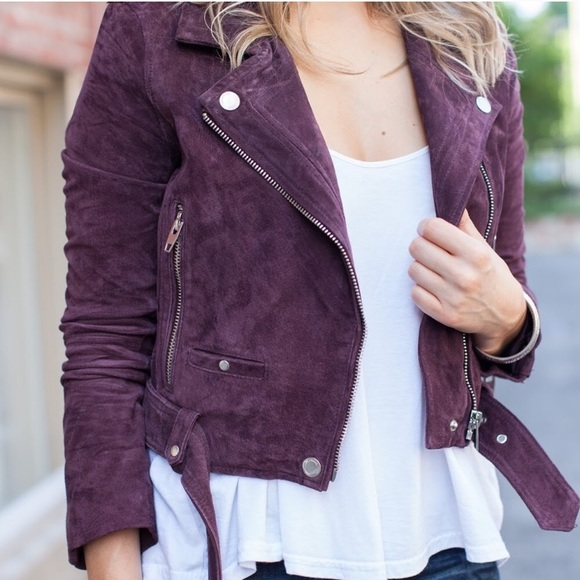 running shoes check out rock-bottom price Blank NYC purple suede Moto jacket