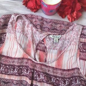 Lucky Brand Pink & Red Sheer Tank Top
