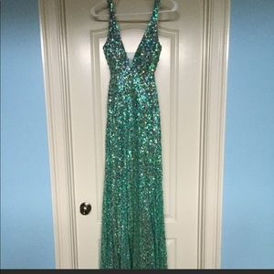 Teal sequins/ crystals formal gown .full length.