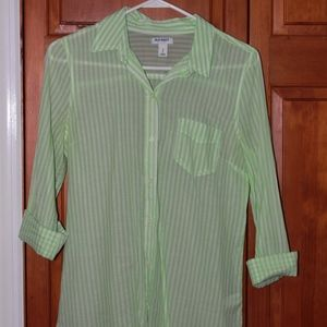 Green and white button down!