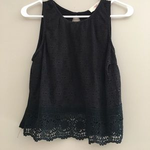 Black crochet crop top.