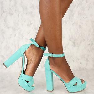 Shoes - Aqua Chunky Heels Platform Pump