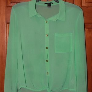 Sea-foam green button down with tie at bottom