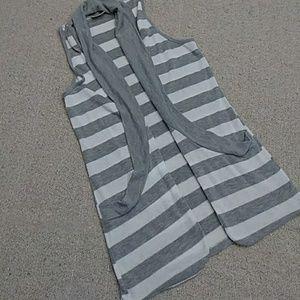 Adorable Striped Sleeveless Open Cardigan