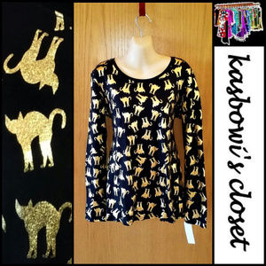 Halloween Gold Metallic Cat Print T Shirt NWOT