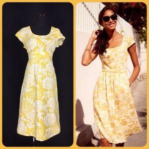 Floral Rose 100% Cotton Fit & Flare Dress 12 Long