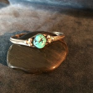 Old Pawn Turquoise and Sterling Silver Cuff