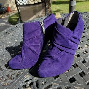 Purple G by Guess Faux Suede Heeled Booties