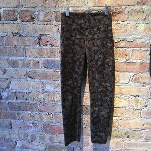 Lululemon green & brown high waisted legging sz 2