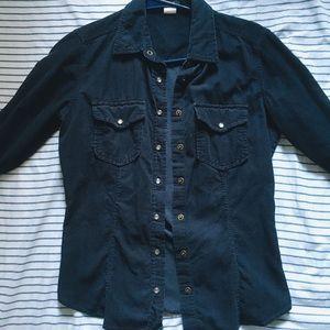 J.Crew Navy Blue Corduroy Shirt - XS 100% Cotton