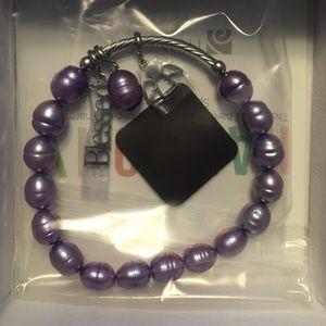 Sterling silver Honora lavender pearl bracelet
