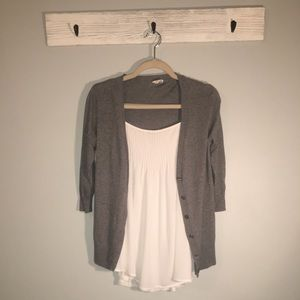 Essentials by full guilt / gray cardigan sweater