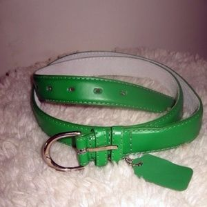 "Bright Kelly Green Leather Belt 1"" Wide XL"