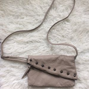 Taupe faux leather studded rockstar purse
