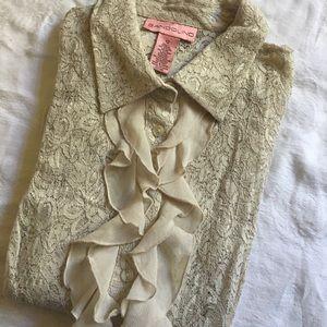 Bandolino Ivory Lace & Chiffon Blouse Semi Sheer