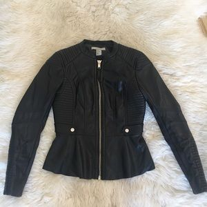 H&M Faux Leather Moto Peplum Jacket/ Blazer