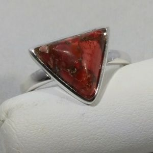 925 Sterling Silver Trillium Cut Red Turquoise Rng