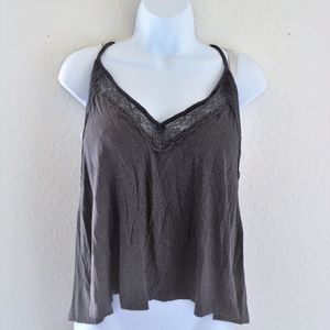 AEO Grey Lace Accent Highlow Racerback Tank