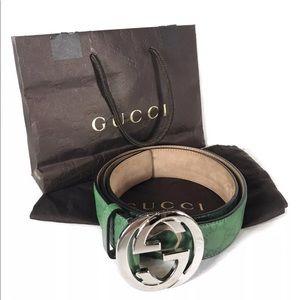 ❌ SOLD ❌ GUCCI Guccissima GG Monogram Green Belt