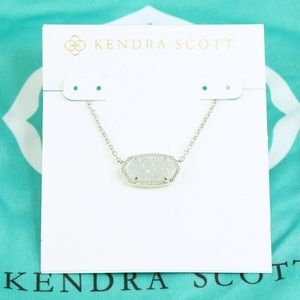 Kendra Scott Elisa white Drusy necklace silver