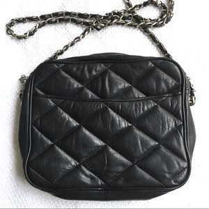 Navy Quilted Leather Chain Strap Bag