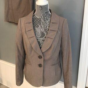 Brown and white striped blazer