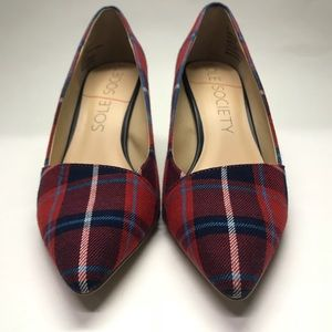 Sole Society Angelica Navy Red Plaid Pump