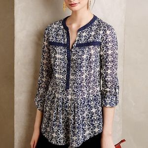 <Anthro> Maeve Abella Pintuck Blouse Blue Print