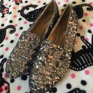 💎Bamboo Mansion sequin silver loafers