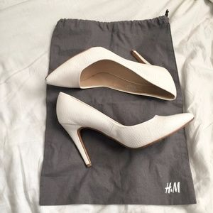 H&M White Crocodile Heels