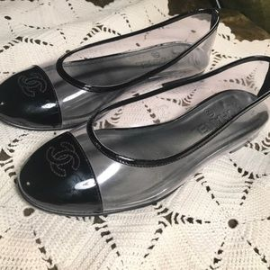 Chanel clear PVC cap-toe flats. Authentic
