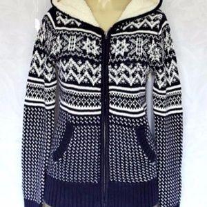 Between Me&You Sweater Warm Hooded Zip Blue Navy M