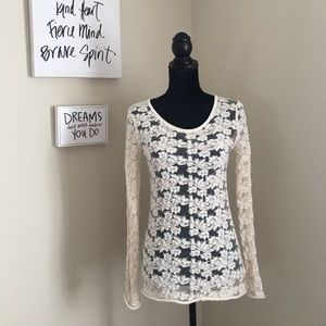 NWT Free People Ivory Lace and Crochet Long Sleeve