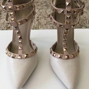Beige studded heels