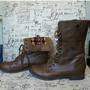 Brown Patterned Combat Boots