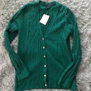 ⚡️Lands End⚡️ Braided Green V Neck Cardigan