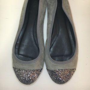J Crew Gray Glitter Toe Suede Ballet Flats