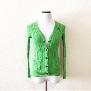 Abercrombie green cardigan size M