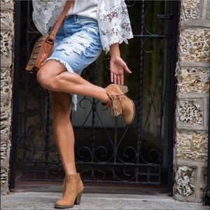 Distressed Suede Stitched Stone Boots