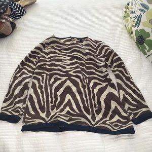 J Crew Animal Print Silk Shirt